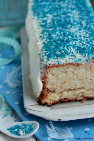 Angel Food Cake. Anielskie ciasto na białkach z różanym kremem z ricotty