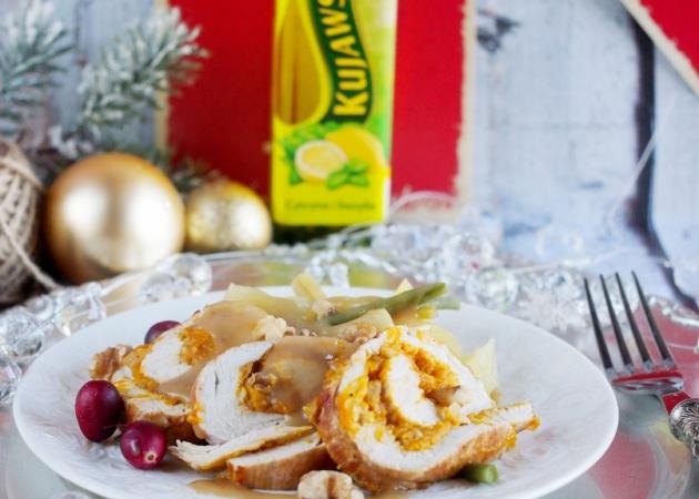 Rolada z indyka z nadzieniem dyniowym i sosem z cydru / Pumkin turkey roulade with apple cider gravy