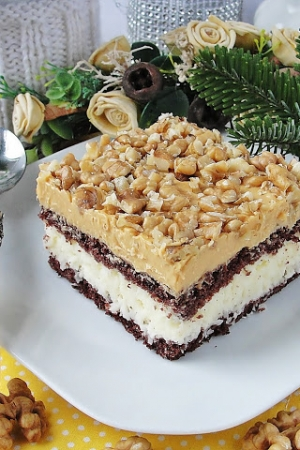 Ciasto kokosowo orzechowe